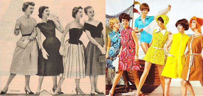 Moda anos 50 X moda da década de 60