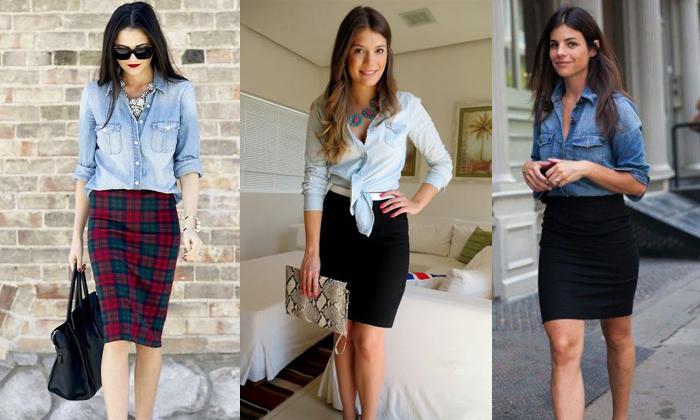 957a27ec4a7db Cinco maneiras diferentes de usar a camisa jeans num look retrô ...