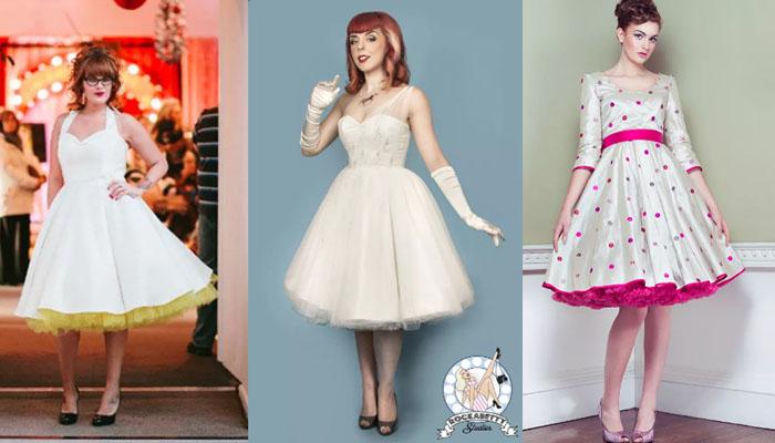 Noivas com vestidos retrô