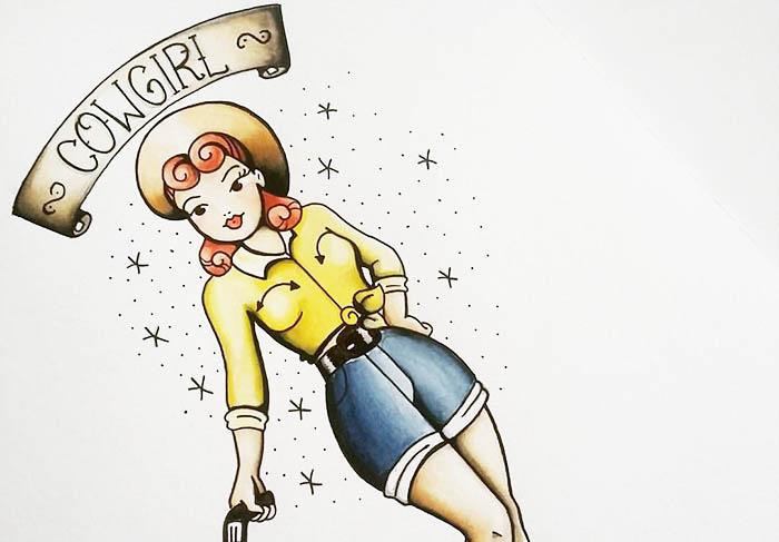 Desenho original que inspirou Aline a compor a estampa da coleção Cowgirl (Foto: Divulgação)