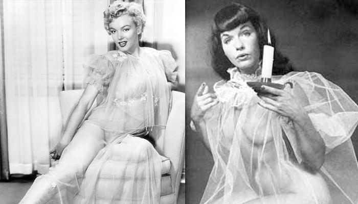 Marilyn Monroe e Bettie Page usando penhoar