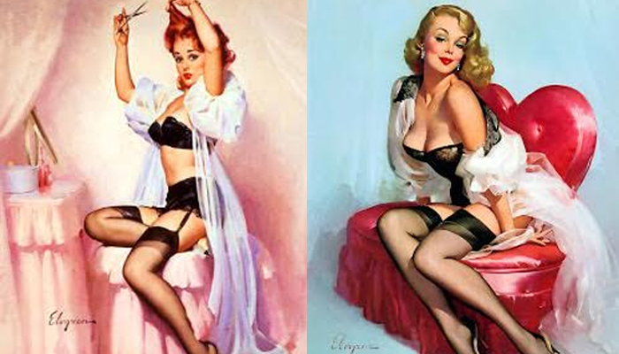 As pin-ups de Gil Elvgreen usando penhoar