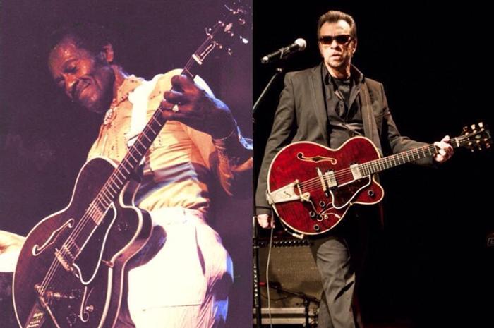 Chuck com a guitarra de Marcelo Nova (Foto: Reprodução)
