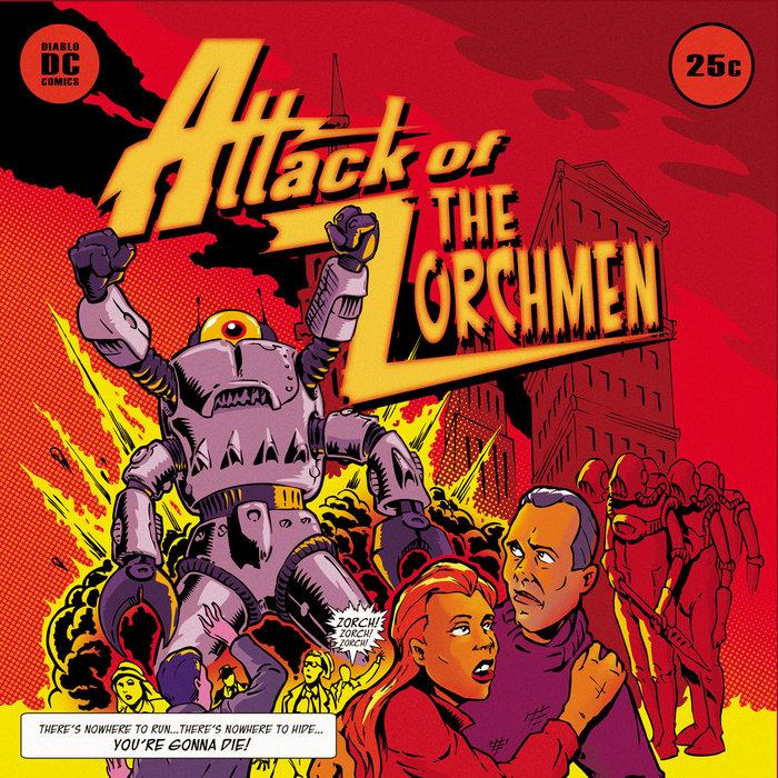 """Nova arte de capa para o relançamento do álbum """"Attack of The Zorchmen"""", do The Meteors, em CD. É nítida a influência dos quadrinhos sci-fi da arte. (Foto: Reprodução)"""