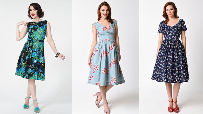 Vestidos floridos retrô