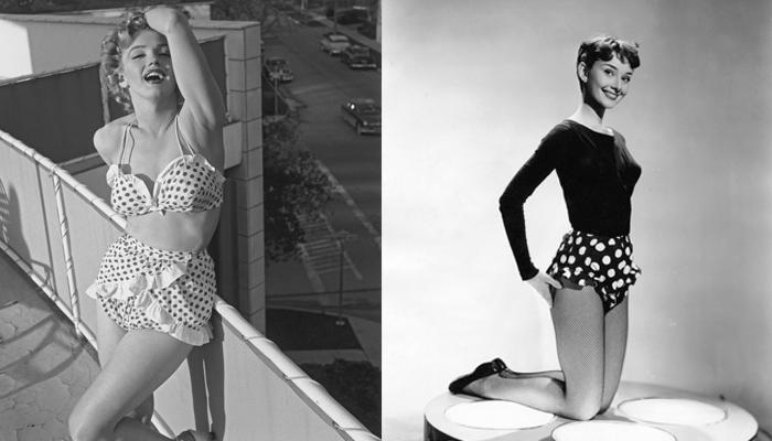 Marilyn Monroe e Audrey Hepburn usando estampa de bolinhas