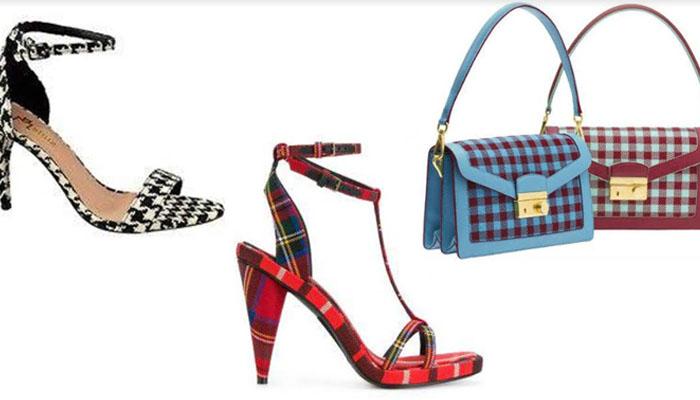 Sapato e bolsa xadrez